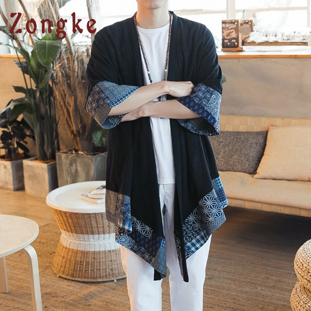 Zongke Chinese Kimono Cardigan Men Open Stitch Traditional Mens Kimono Cardigan Plus Size Long Kimono Jacket Men 2018 Summer 3