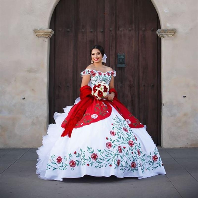1996 16 De Descuentovestido De 15 Anos Diseño único Bordado Vestido De Baile Con Volantes De Hombro Vestidos De Organza Para Fiesta De Boda