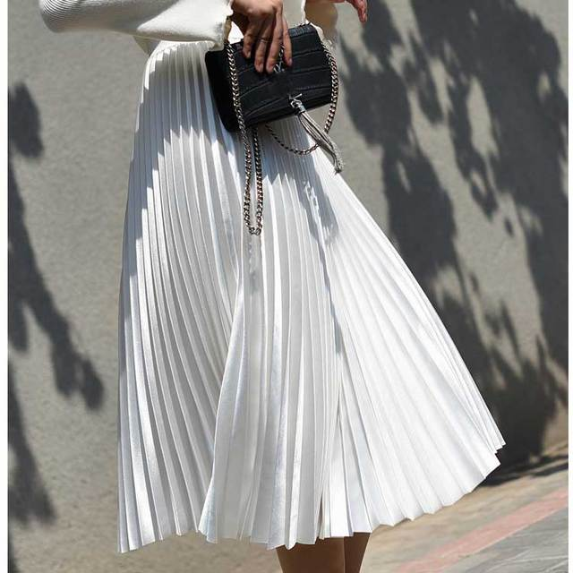 2018 High Waist Women Long Skirt White Pleated Skirts Fashion Design Top Brand Women Skirts Female Long Skirts Faldas Saia Midi