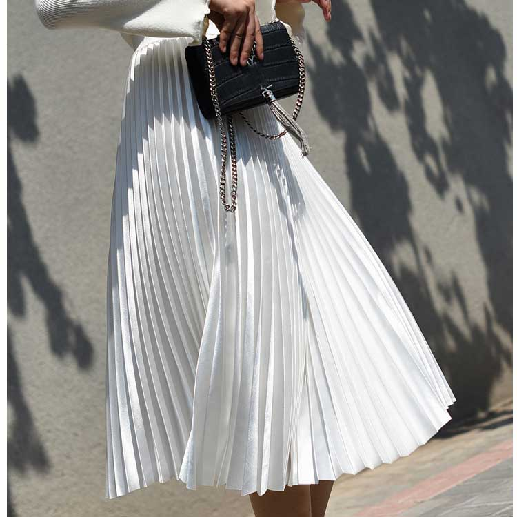 2020 High Waist Women Long Skirt White Pleated Skirts Casual Design Top Brand Women Skirts Female Long Skirts Faldas Saia Midi