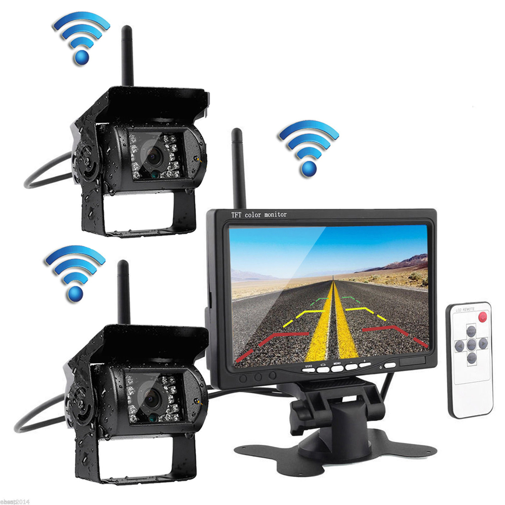 Wireless 2 Backup Cameras & Monitor Parking Assistance System Ir Night Vision Waterproof Rear View Camera + 7 Monitor for Truck
