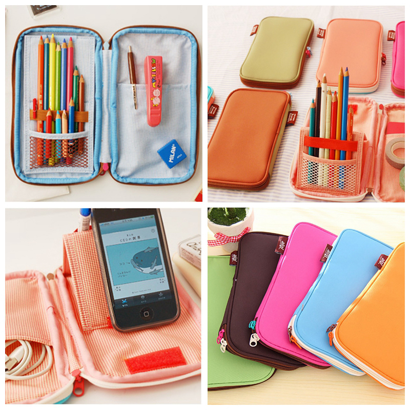 Boys girs pencil pouches pencil case bag pen sacktion fabric pen pouch student school stationery organizer office organizer цена
