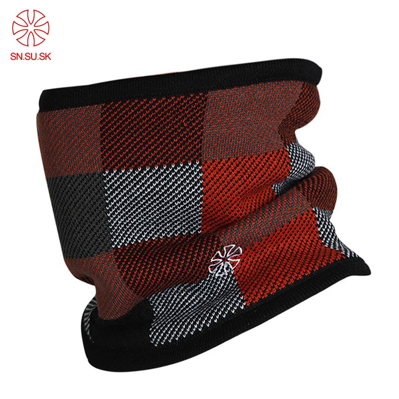 Men Plaid Double-deck Polar Fleece Windproof Knitting Face Mask Ski Bicycle Loop Scarf 2019 Autumn Winter Outdoor Male Warm Neck