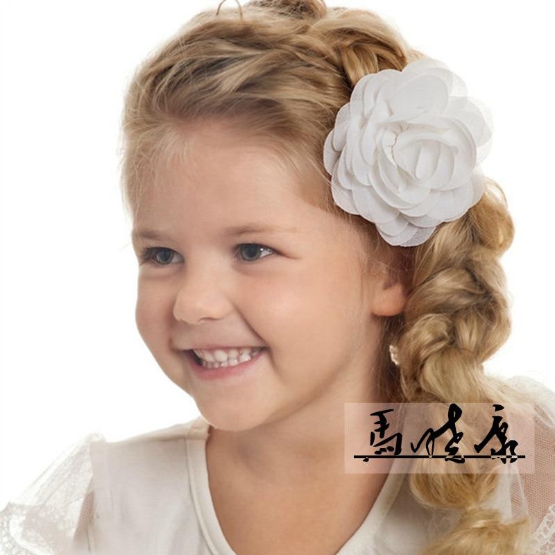 8.5cm Newborn Chiffon Petals Poppy Flower Hair Clips Rolled Rose Fabric Hair Flowers For Kids Girls Hair Accessories