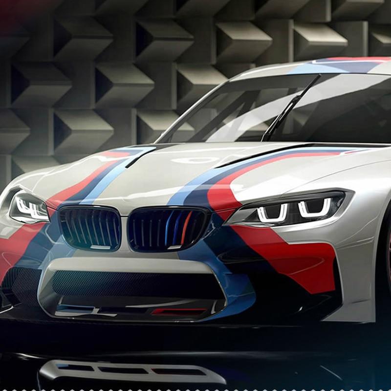 3pcs Stripes Car Sticker Grill M Sport Tech Auto Vehicle