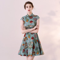 Chinese Classic Print Flower Women Cheongsam Vintage Handmade Button Qipao Summer Mini Satin Dress Vestidos Size S XXXL Z 1023