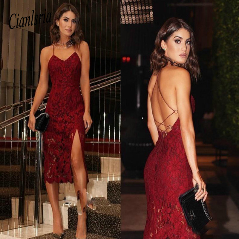 Burgundy Lace Short   Cocktail     Dresses   2019 Lace Spaghetti Straps Homecoming   Dress   V-neck Sexy Slit Prom Gowns Cheap Open Back