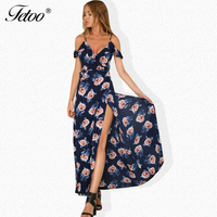 Fetoo 2017 Floral Print Maxi Long Dress Bohemian Sexy High Split Backless V Neck Open Shoulder