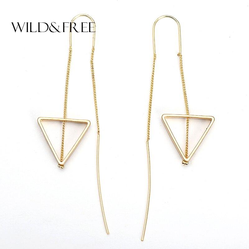 WILD & FREE Women Fashion Gold Zinc Alloy Triangle Pendant Long Ear Line Drop Earrings Europe Geometric Dangle Earring Jewelry