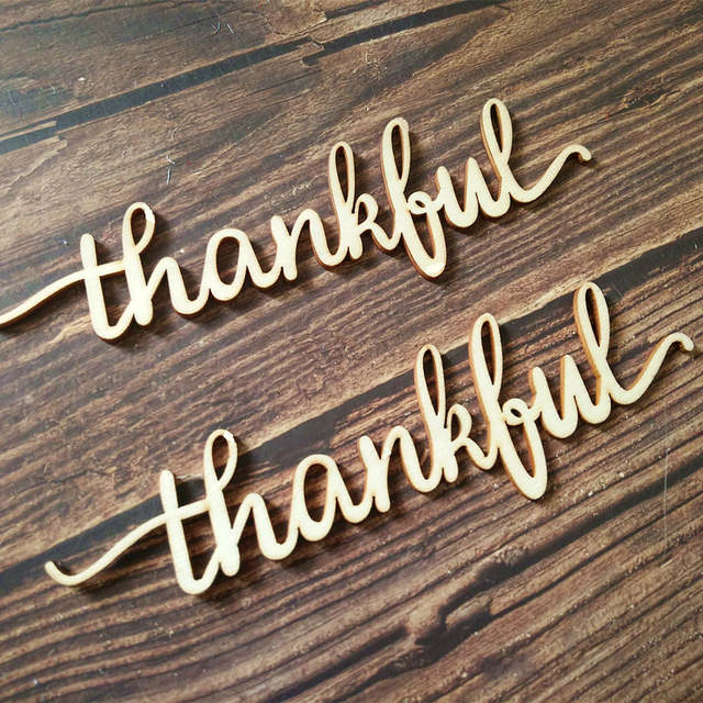 10pcs Wooden Word Sign Thankful Sign Wood Word Home Decor Lowercase Script  Font Home Wall Decor Laser Cut Wood Words, Wood Thank