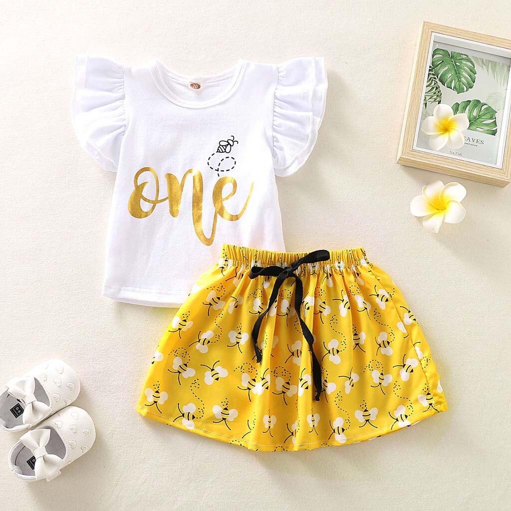 Emmababy recién nacido niña ropa 1 er cumpleaños Fly manga tapas Honeybee estampado Mini falda 2 uds trajes ropa verano