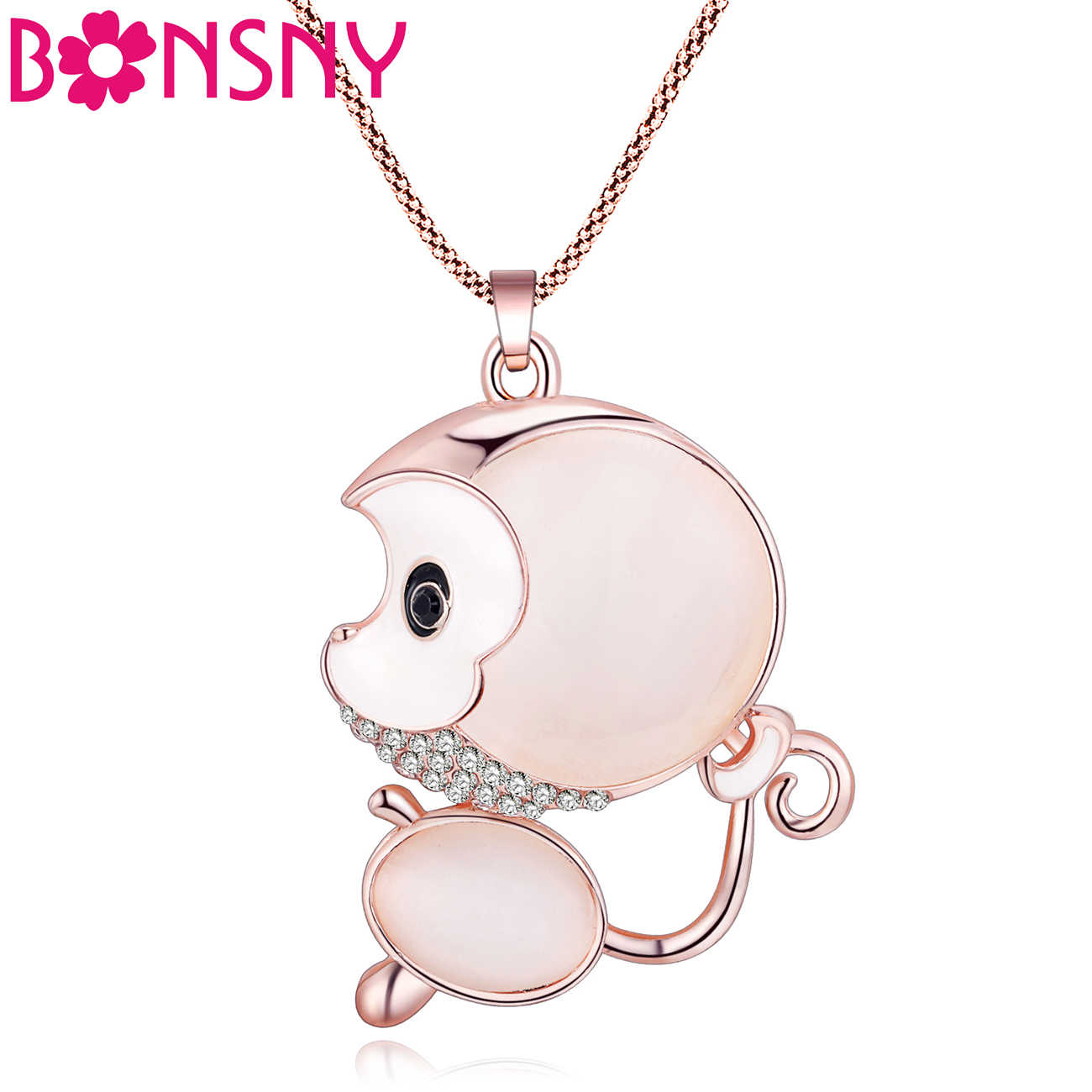 Bonsny Statement Opal Alloy Monkey Necklaces Pendants Long Rhinestone Chain Collar New Trendy Animal Jewelry For Women