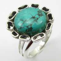 Solid Silver Genuine Turquoises Ring Sz 8 Face Width 20 mm New Gift Jewelry Unique Designed