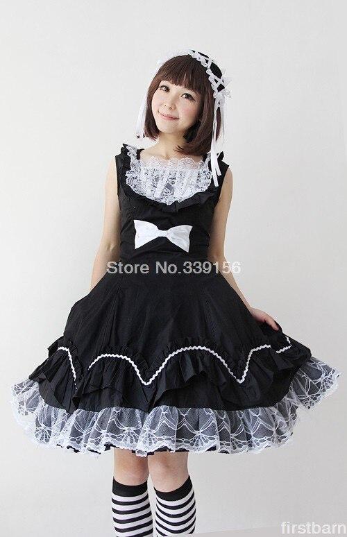 Cosplay Bowknot Sweet Coton amp; Lolita Dames Noir Dentelle Dress La y Décoration Compris Coiffe xYzc8YqwrX