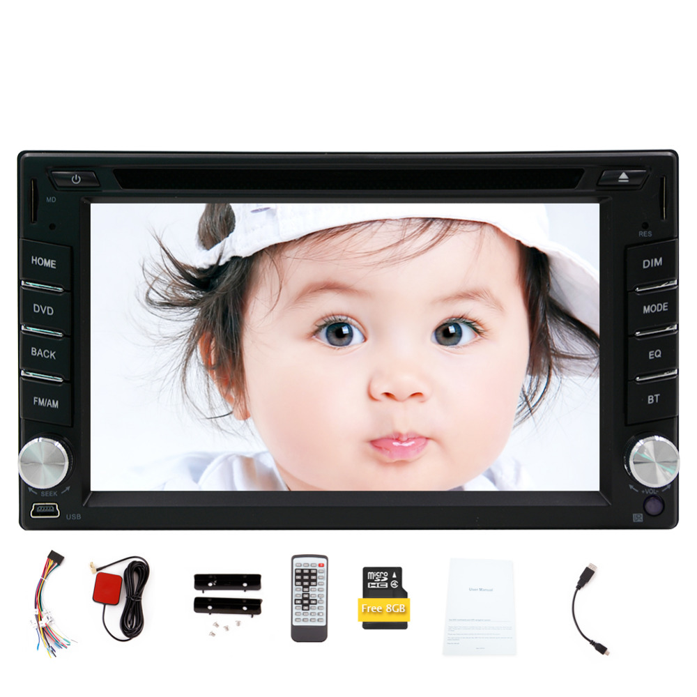 In dash double 2din 6.2 inch car dvd player GPS Navigation car audio stereo 8GB map Bluetooth car radio FM AM RDS car monitor 1din 8gb gps audio stereo single 1din car radio digital touchscreen cpu headunit fm am rds receiver subwoofer aux car dvd player