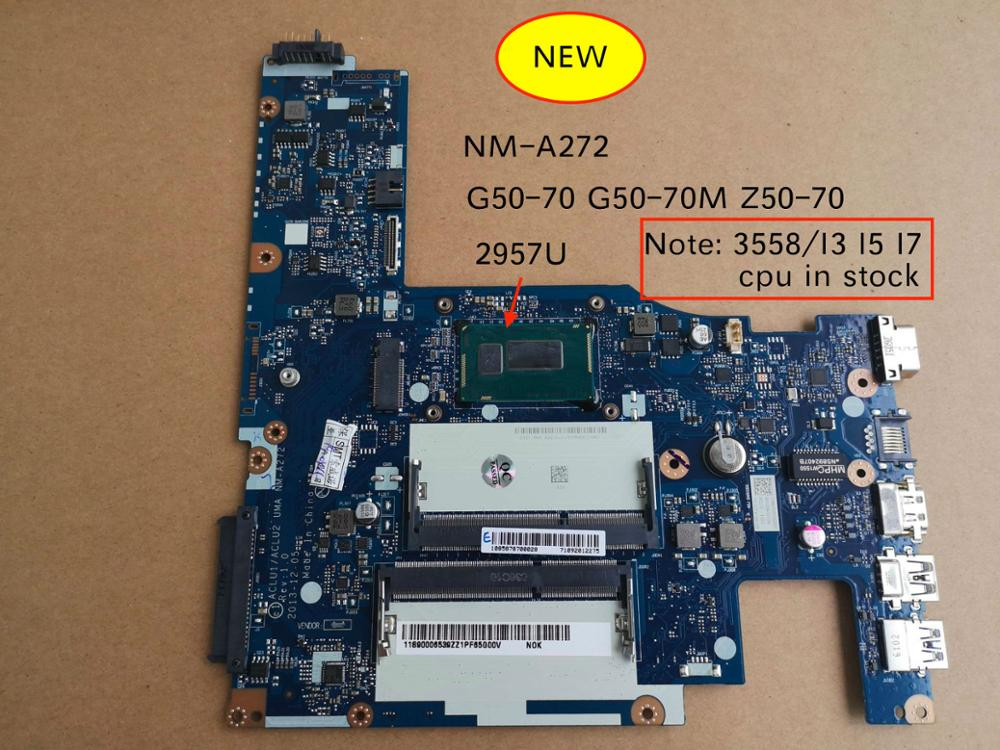 Free Shipping Genuine NEW For Lenovo ACLU1/ACLU2 UMA NM-A272 G50-70 G50-70m Z50-70 Motherboard