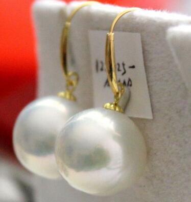 Бесплатная доставка пара 12 13 мм Природный южного моря круглый белый жемчуг серьги 14