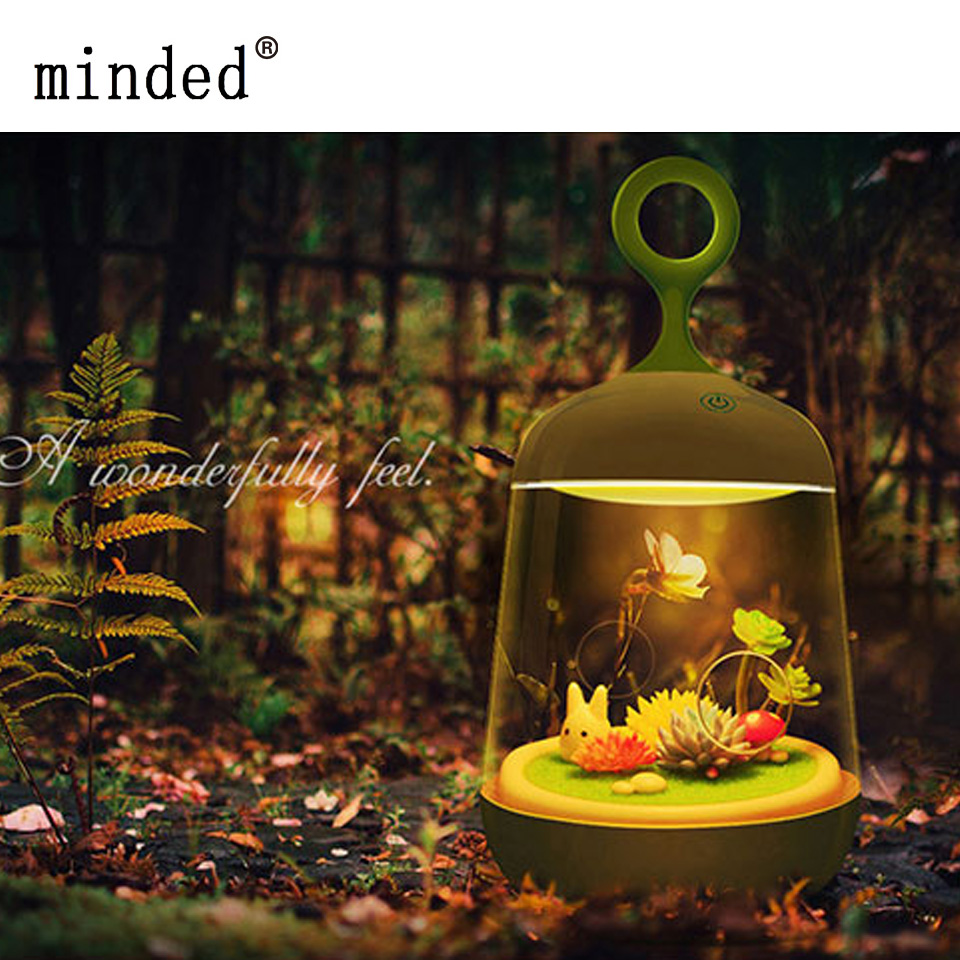 Novelty USB Charging LED Colorful Light New Micro-landscape Plant Children LED Creative DIY Butterfly Rabbit Potted Nightlights