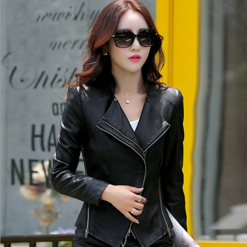 7 Colors M-5XL Plus Size PU Leather Jacket for Women New Fashion Zipper Turn-down Collar Female Motorcycle Jacket Coat
