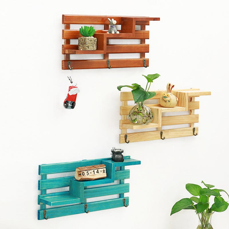 Retro Wall Mounted Wood Rack Shelf Holder Kitchen Bathroom Storage Rack Organizer Key Hanging Storage Holder Home Decoration