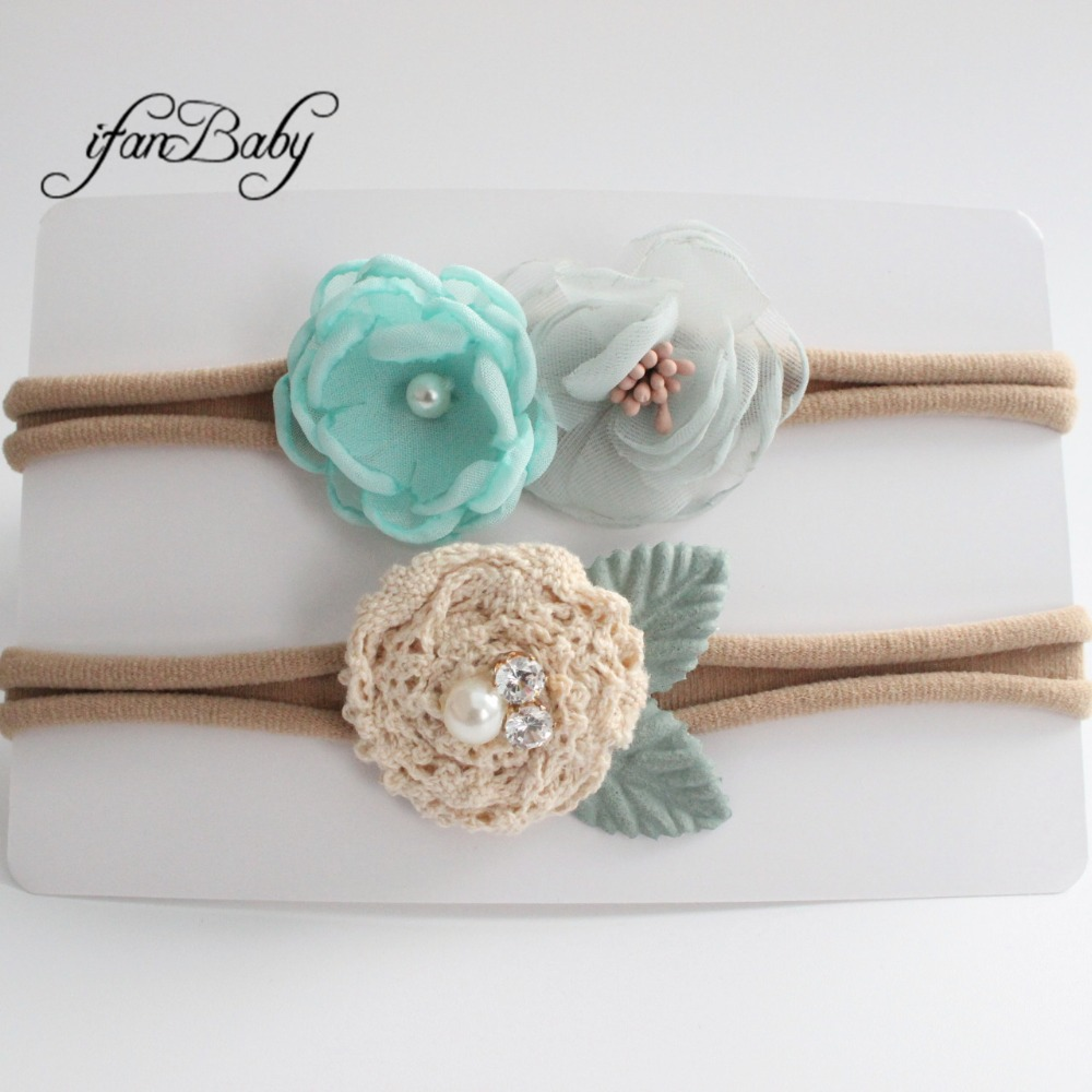 kids girl fabric flower headband nylon headband (16)