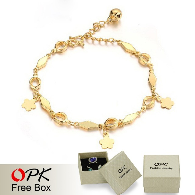 OPK Jewelry Wedding Ornament 18K Gold Plated Bracelet Bridal Charm Bracelets Bell Anti-allergy Free Shipping 156