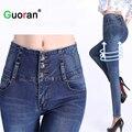 Новые Высокой Талией женщины растянуть джинсы брюки мода тонкий сексуальный дамы случайных брюки Плюс размер 34 33 женщин тощий карандаш брюки