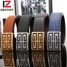 DESTINY Top leather belt men luxury famous brand gg high quality designer fashion wide strap male double g ceinture gold silver