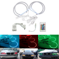 4*106mm For BMW 3 Series E46 Coupe 2D Angel Eyes 5050 RGB Halo Rings LED Bulb Flash Car Headlight DRL With IR Control