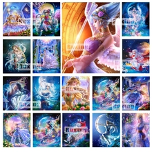 DIY Diamond Embroidery Moon Girl Diamond Painting Cross Stitch Full Square Rhinestone Mosaic Home Decoration Gift 5d diy full square diamond painting cross stitch girl and cat 3d diamond embroidery rhinestone mosaic home decoration gift