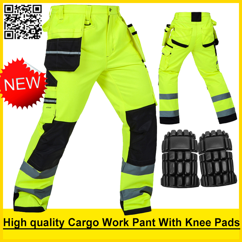 Bauskydd High visibility Mens multi-pocket fluorescent yellow safety reflective cargo work trousers working pant free shipping fluorescence yellow high visibility