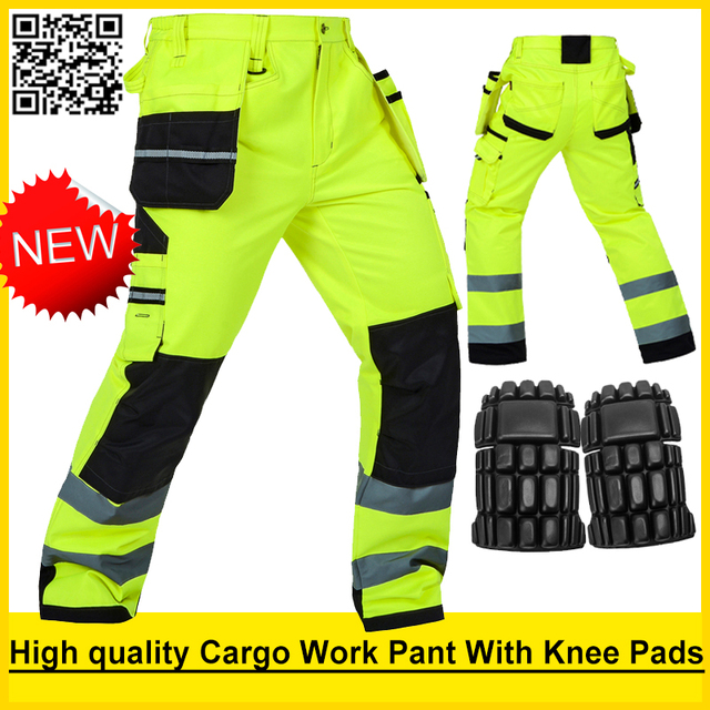 Bauskydd High visibility Mens multi pocket fluorescent yellow safety reflective  cargo work trousers working pant free shipping