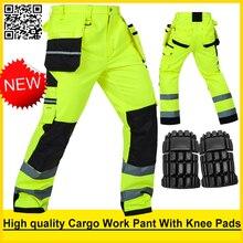 Bauskydd عالية الوضوح رجالي متعدد جيب الفلورسنت الأصفر سلامة عاكسة البضائع العمل بنطلون العمل بانت شحن مجاني