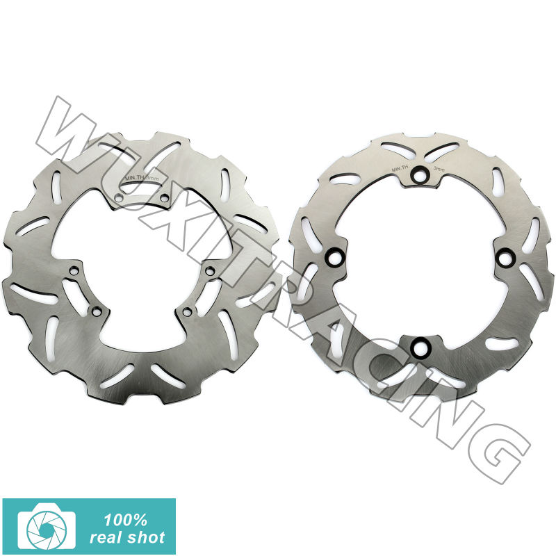 BIKINGBOY New Full Set Front Rear Brake Discs Rotors for HONDA CR R- CR E 125 250 500 1995 1996 1997 1998 1999 2000 2001 full set front rear brake discs disks rotors pads for suzuki gsxr 750 94 95 gsx r 1100 p r s t 1993 1994 1995 1996