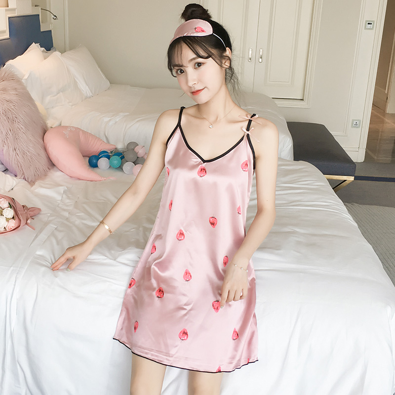 Yidanna Women   Nightgowns   Pink Silk   Sleepshirts   Female Nightwear Casual Nightdress Summer Sleeveless Homewear Nighties Sleepwear