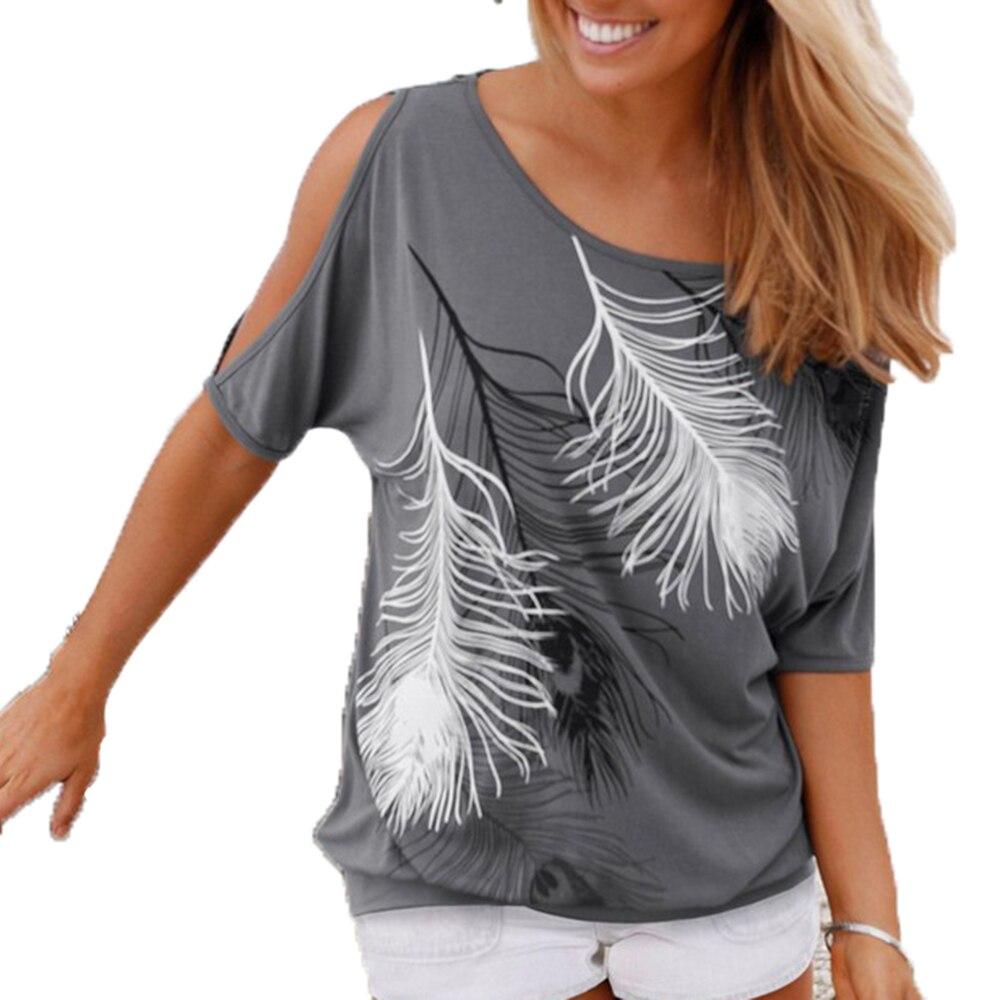 Летние Для женщин Перо печатных Футболки О-образным вырезом без бретелек Рубашки для мальчиков с открытыми плечами Короткие-Футболка с рукавами свободные Тип