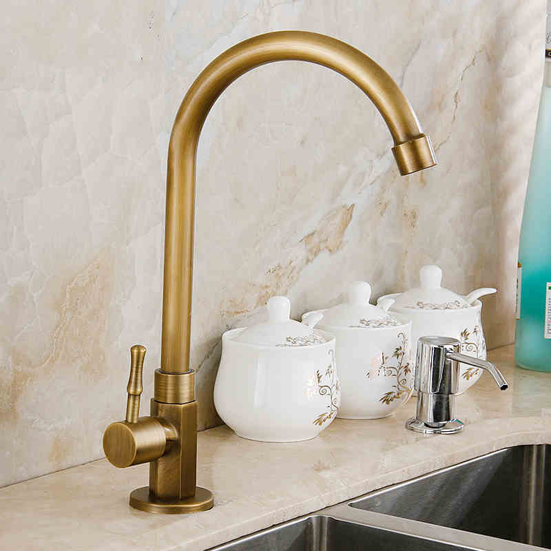antique brass kitchen faucet kitchen sink tap basin faucet cold water tap 360 swivel spout - Brass Kitchen Sink