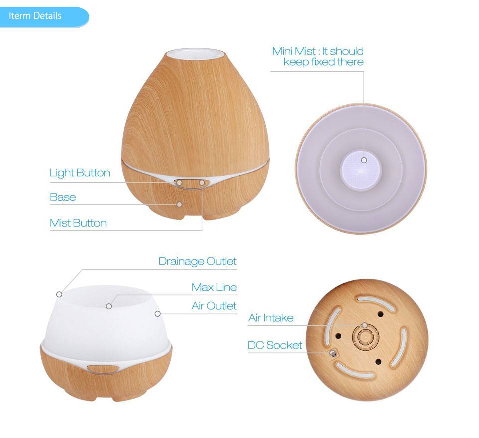 агомасагебыл 300 мл увлажнитель воздуха эфирное масло распылитель ароматизатор лампа ароматерапия электрический аромат диффузор туман чайник для дома-дерево