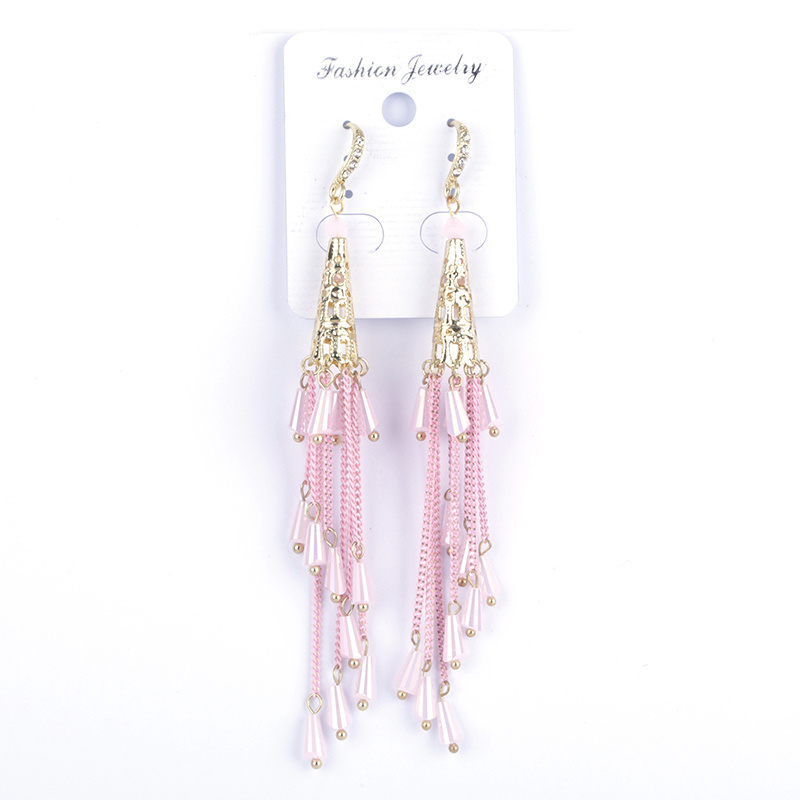 Trendy Pale Baby Pink Metal Tassels With Shaded Wave Tassel End Bead Charm Long Dangle Earrings For Women Wedding Party Jewelry
