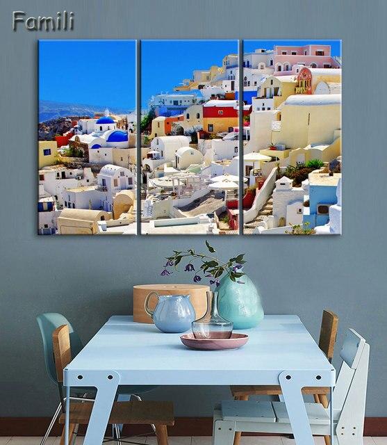 US $10.48 35% di SCONTO|3 Pannello Moderna Pittura Decorativa Domestica di  Illustrazioni Grecia Santorini Isola di trasporto Scenario Stampato Pittura  ...