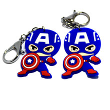 Marvel Captain America PVC Keychain Clothing accessories Baby gift Bag Pendant Jewelry Cute Charm Purse Handbag Car Key Keyring(China)