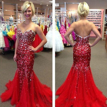 La MaxPa Luxury Beaded Crystal Long Sexy Red dresses