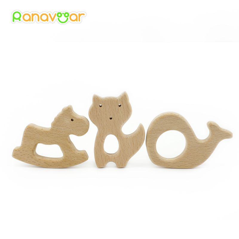 Ranavoar Wooden Teethers 10pcs 5pcs Nature Baby Teething Toy Organic Eco friendly Wood Teething Holder Nursing