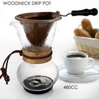 1Set Wood Neck Coffee Chemex Brewer 480CC 3-4 Cups Coffee Maker Coffee Percolators Pot