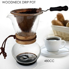 1Set Wood Neck Coffee Chemex Brewer 480CC 3-4 Cups Coffee Maker Coffee Percolators Pot