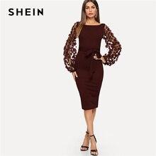 Shein maroon festa elegante flor sólida applique malha manga forma encaixe vestido magro outono workwear vestidos femininos