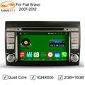 5.1.1 GreenYi Android Car DVD GPS Navigation Player para FIAT BRAVO 2007-2012 Rádio Bluetooth 3G/4G Wi-fi Cobertura de Volante controle