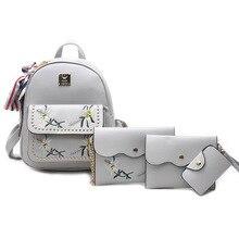 Новые модные женские туфли с вышивкой Сумка Кожа PU Рюкзак женские Симпатичные 4 компл. сумка школьные рюкзаки для девочек-подростков сумки письмо