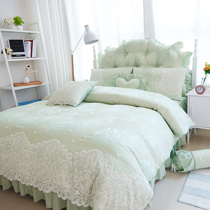 Amazing 4pcs/set Korean Bedding Set Satin Jacquard Cotton Lace Embroidery Princess  Duvet Cover Elegant Bed Sheet Bedroom Bedspread  In Bedding Sets From Home  ...