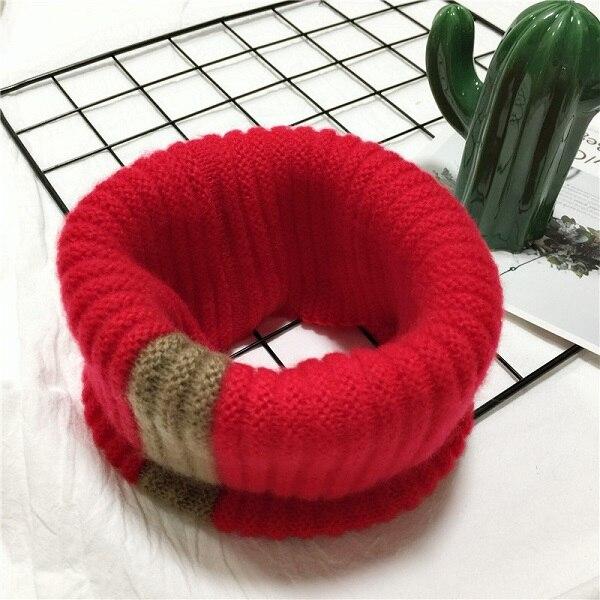 VISROVER/вязаный шарф для девочек и мальчиков, детское кольцо с полосками, безграничный снуд, Детские кашемировые шарфы, Круглый теплый шарф на шею - Цвет: 8